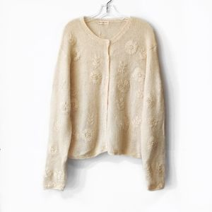 Vintage VTG Cream Off White Cardigan Sweater